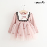 2017 New Spring Children S Mesh Dress For Girls Princess Dress Outwear With Bow Baby Costume