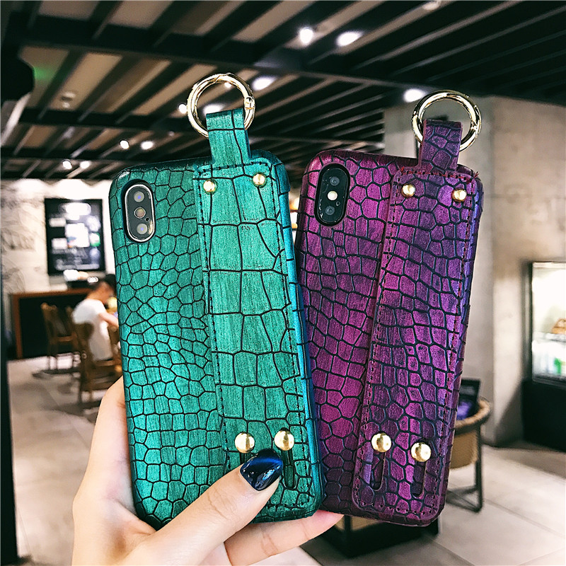 Human - Plain With Wrist Strap Case For iPhone XS Max Case Leather Hard Back Cover Coque