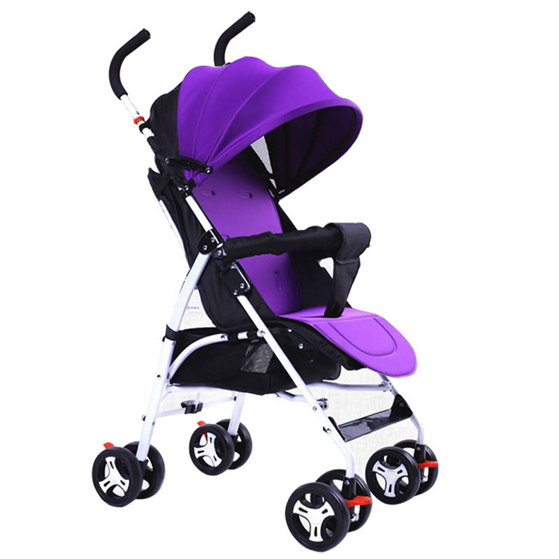 Lightweight Baby Stroller Sit Lie Handcart Portable Four Wheel Baby Carriage Pram Buggy Bottom Basket Organizer Bag Pushchair