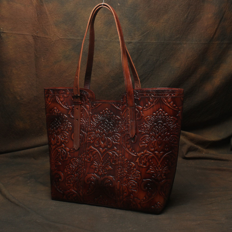 Nesitu haute qualité motif fleur Vintage café épais en cuir véritable femmes sacs à main dame sacs à bandoulière femme fourre-tout # M113 - 2