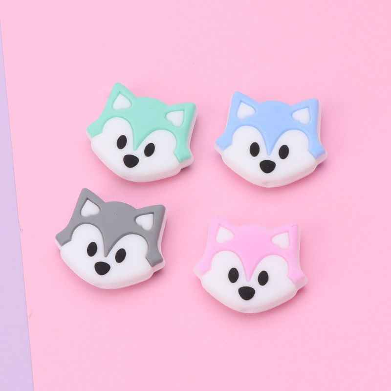 Fox Baby Teething Beads Cartoon Silicone Beads For Necklaces BPA Free Teether Toy Accessories Nursing
