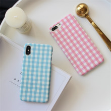 Korea Fresh Pink Blue Grid Phone Case for IPhoneXS XSMAX 6s 7 7plus 8 X Simple Plaid Scrub Hard Pc Coque Back Cover