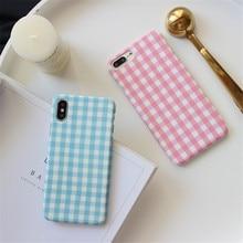 Korea Fresh Pink Blue Grid Phone Case for IPhoneXS XSMAX 6s 7 7plus 8 X Simple Plaid Scrub Hard Pc Case Coque Back Cover char broil deluxe grid scrub
