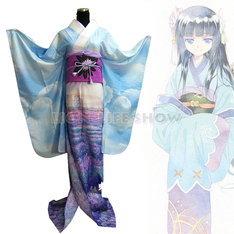 Traditional Japanese Women Orchid Floral Gradient Furisode Long Kimono Costume