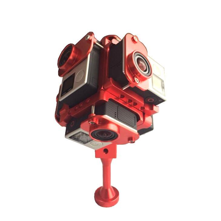 Gopro HD Hero 3+ 4 Full Shot Alu Case 360 Degree Spherical Panorama Frame Mount VR Video Mount for aerial photography three dimensional adjustable helmet side mount for gopro hero 3 3 2 1 black
