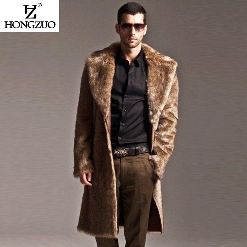 HONGZUO 2017 새로운 도착 남자 모피 코트 롱 파커 겨울 패션 두꺼운 따뜻한 롱 가짜 모피 코트 재킷 가죽 오버 코트 PC169