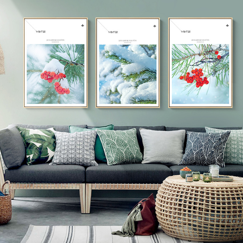 Winter Living Room Decorating: Nordic Style Poster Canvas Painting Winter Fruit Landscape