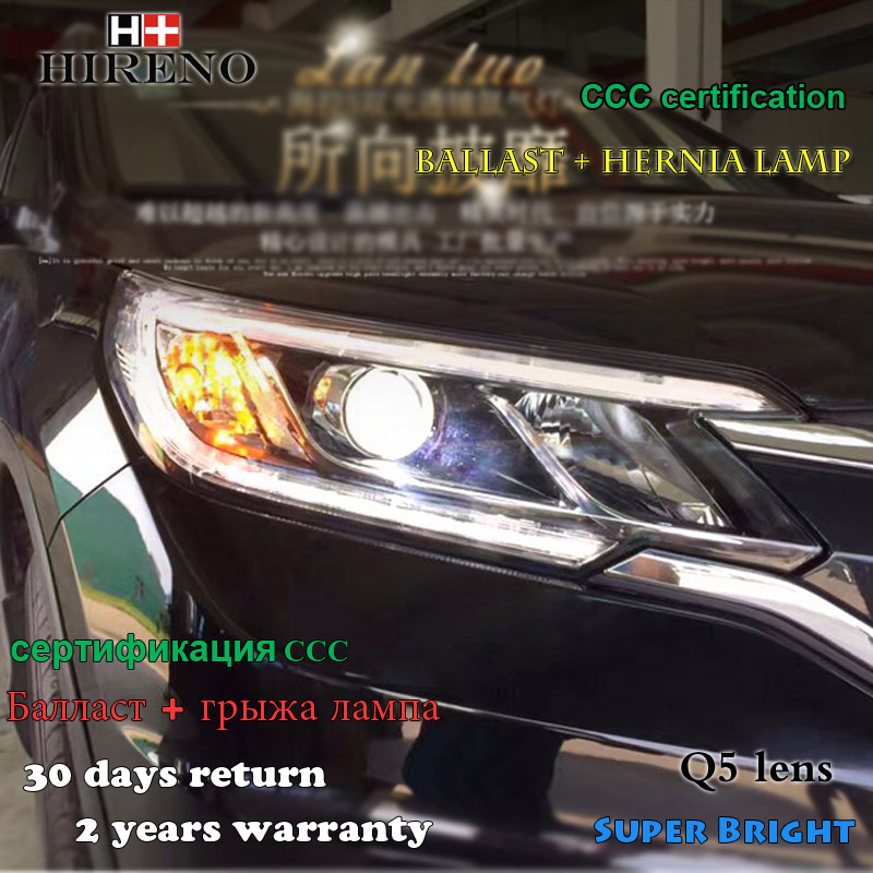 Hireno Car styling Headlamp for 2015-16 Honda CRV CR-V Headlight Assembly LED DRL Angel Lens Double Beam HID Xenon 2pcs hireno car styling headlamp for 2007 2011 honda crv cr v headlight assembly led drl angel lens double beam hid xenon 2pcs