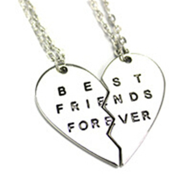 3645820a99 Jacoso Jewelry Gold Silver Broken Separate Heart 2 Parts Pendant Best  Friend Forever Couple Friends Chain Necklace Accessories