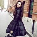 Roupas 2015 novo inverno das mulheres long down jacket moda slim fino e leve casacos de pato branco para baixo