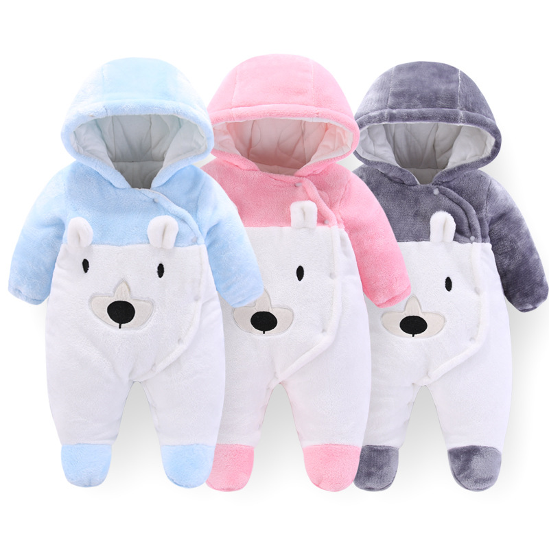 Newborn Baby Boy Girl Winter Warm Footie Clothes Toddler Baby Cartoon Fleece Pajamas New Flannel Bear Thickening Hooded Jumpsuit
