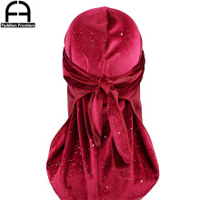 цены New Luxury Men's Shiny Velvet Durags Turban Bandana Headband Men Durag Biker Headwear Hat Hair Accessories