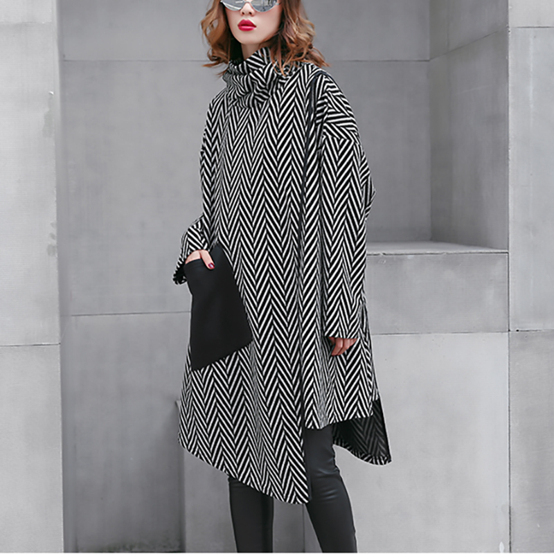 HTB1xfUgXVzsK1Rjy1Xbq6xOaFXaY - [EAM] 2019 New Spring Winter High Collar Long Sleeve Black Striped Split Joint Irregular Hem Pocket Dress Women Fashion JL300