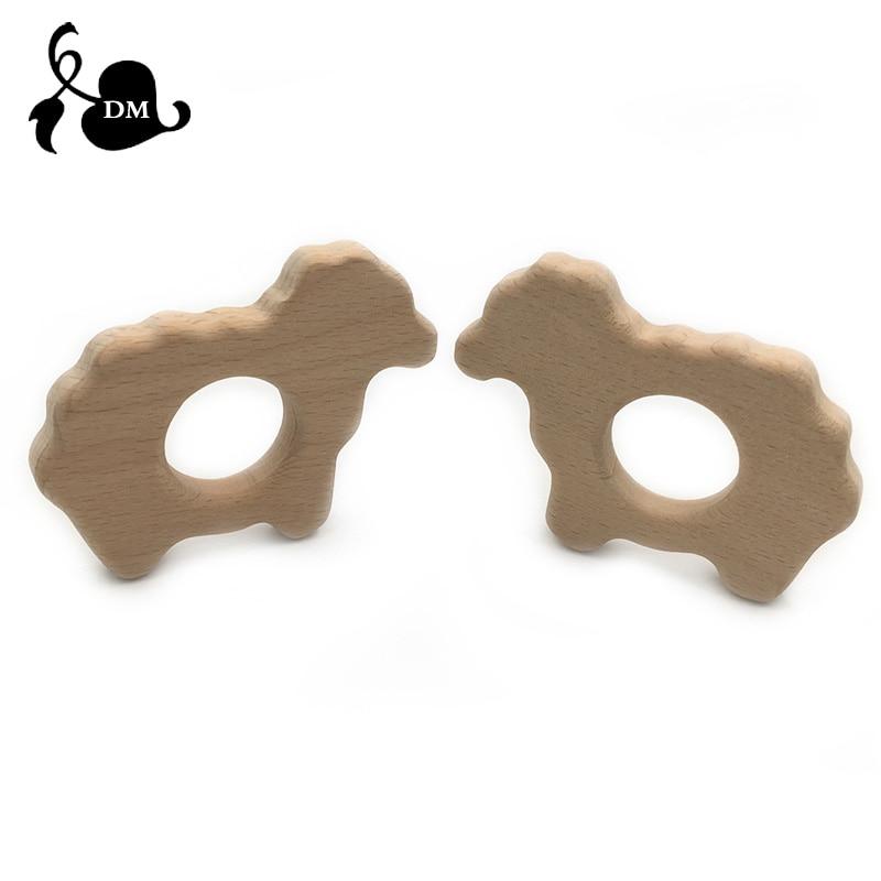 Animal Sheep Shape Wooden Baby Teether Toy Safe Newborn Kids Teething Toys Baby Shower Gift Wood Teether Cartoon