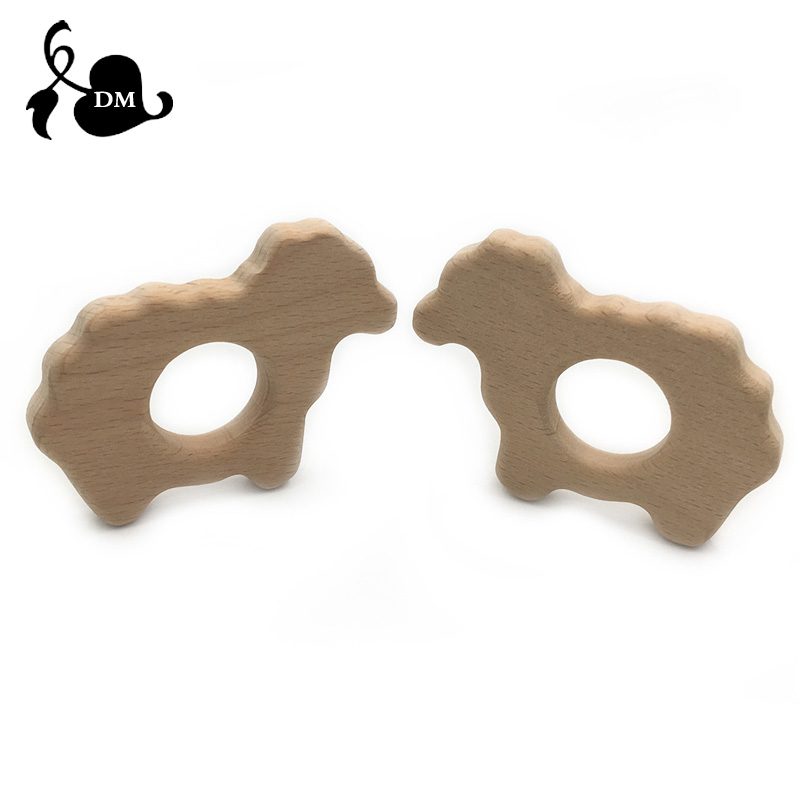 Animal sheep Shape Wooden Baby Teether Toy Safe Newborn Kids Teething Toys Baby Shower Gift Wood Teether Cartoon