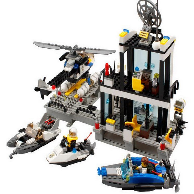 KAZI 6726 Water Police Station With Helicopter Boat Figure Blocks Educational Building Bricks Toys For Children Compatible Legoe 1916 enlighten city water police station series plan breakout model building blocks figure toys for children compatible legoe