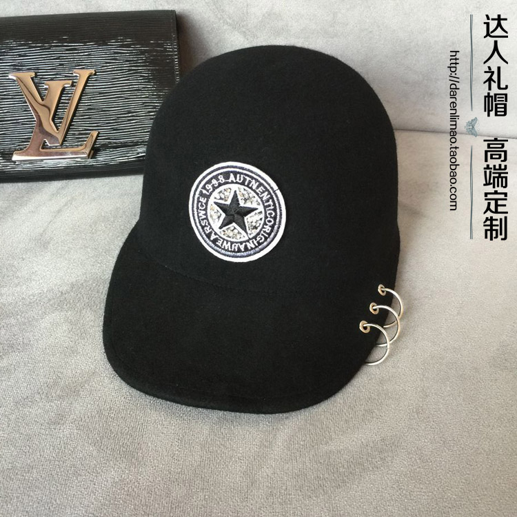 Rhinestone baseball cap applique wool equestrian cap metal ring fashion female hat cowboy hat cap cap flat top hat lace rhinestone flower hooded fashion tide cap cap riding hood