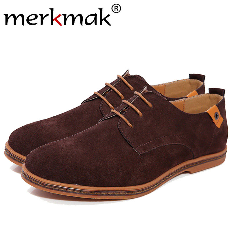 Merkmak 2017 Fashion Men Shoes Suede Leather Casual Lace-up Men's Flats Shoes for Man Rubber Outsole Driving Footwear Drop Ship bimuduiyu trend casual shoes for men fashion light breathable lace up male shoes high quality suede leather black flats shoes