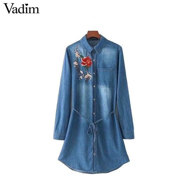 Vadim женщины sweet цветочной вышивкой джинсовые рубашки dress пояса с длинным рукавом карманный линия случайные мини-платья vestidos qz3025