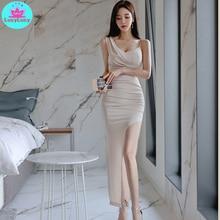 2019 summer Korean fashion temperament slim split long sexy dress V-Neck  Solid Sheath Zippers