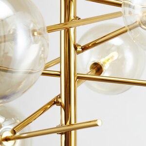 Image 4 - Modern personality magic beans glass pendant lamp designers tree branches glass balls Hanging lamp Modern light fixture