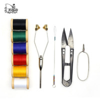 10 Fly Tying Tools Set With Bobbins Hackle Pliers Etc Threader Half Hitcher Scissors 6 Spools