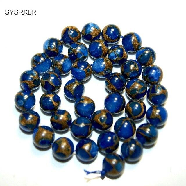 Venta al por mayor alta calidad azul oro Natural Nepal piedra cuentas 6 8 10 MM formato de elección para hacer joyería DIY collar pulsera
