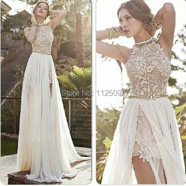 2019 New Arrival Sexy White Chiffon Beaded Appliques Lace Prom Dresses Long Halter Side Slit Spring Evening Gowns