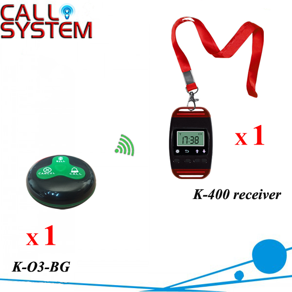 Waiter buzzer paging system 1 watch receiver with neck rope and 1 call button sample order for test service call bell pager system 4pcs of wrist watch receiver and 20pcs table buzzer button with single key
