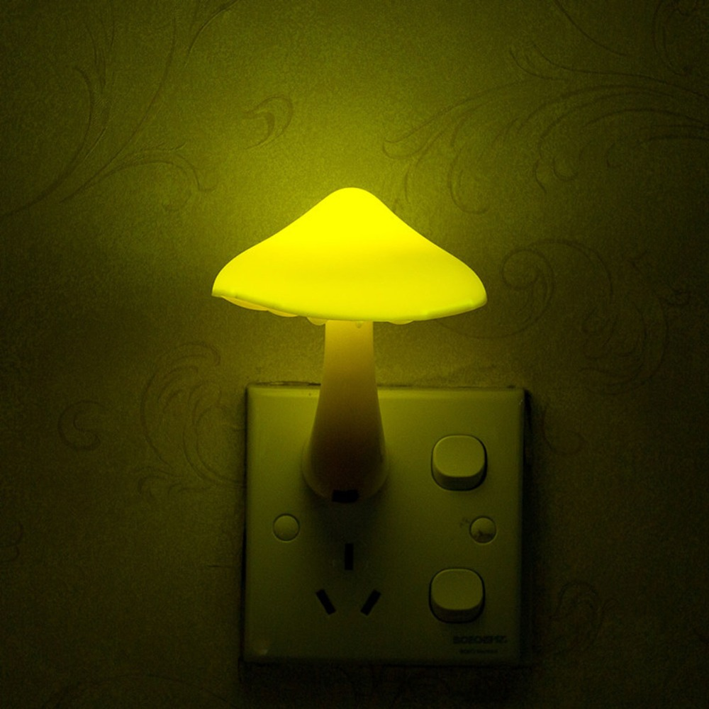 EU US Plug Hot Light Sensor LED Night Light Mushroom Wall Lamp Warm Yellow Lighting Bedroom AC Night Light Energy Saving Lamp
