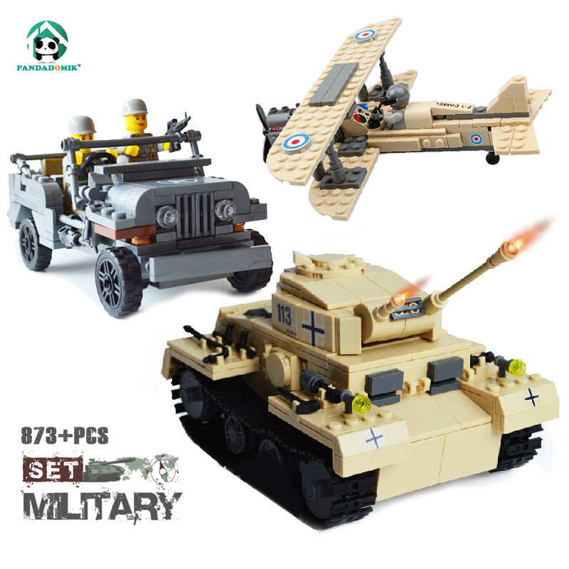 Pandadomik Military Set 873pcs Building Blocks Kits Tank Model Army Car Plane Fighter War DIY Toy Bricks legoingly Toys for Boys new phoenix 11207 b777 300er pk gii 1 400 skyteam aviation indonesia commercial jetliners plane model hobby