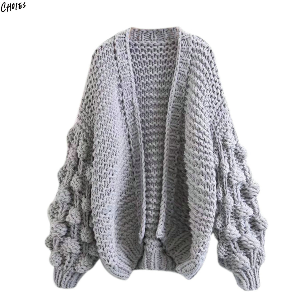 2 Colors Bobble Stitch Long Sleeve Oversized Cardigan Women Drop ...