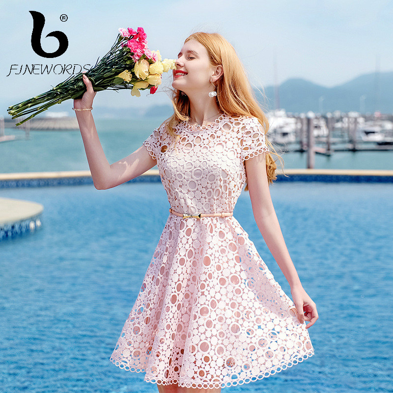 FINEWORDS 2018 New Beach Holiday Summer Vestidos Sexy Hollow Out Lace Dress  Women Elegant Korean Vintage Plus Size Party Dresses-in Dresses from Women s  ... c5073f5d8f64