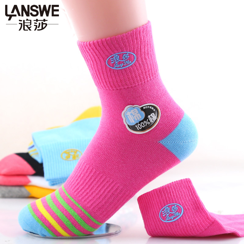 LANSWE 6pairs/lot 2017 New women Spring cotton soft socks character stripped lady colorful brand socks langsha
