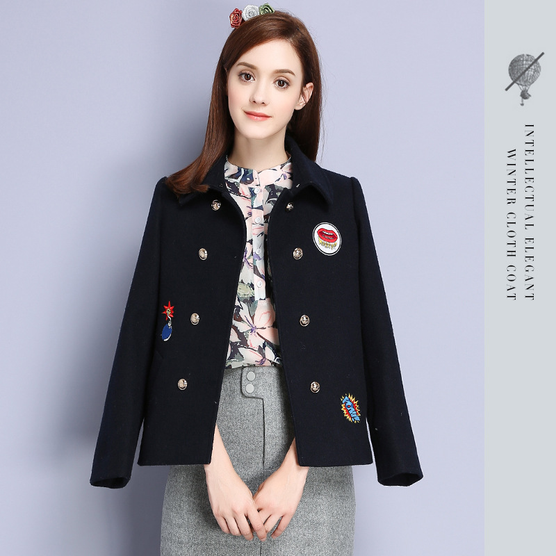 2016 Winter Brand New High Quality Women Korean Sweety Suit Collar Double-breasted Cartoon Embroidered Short Woolen Coat