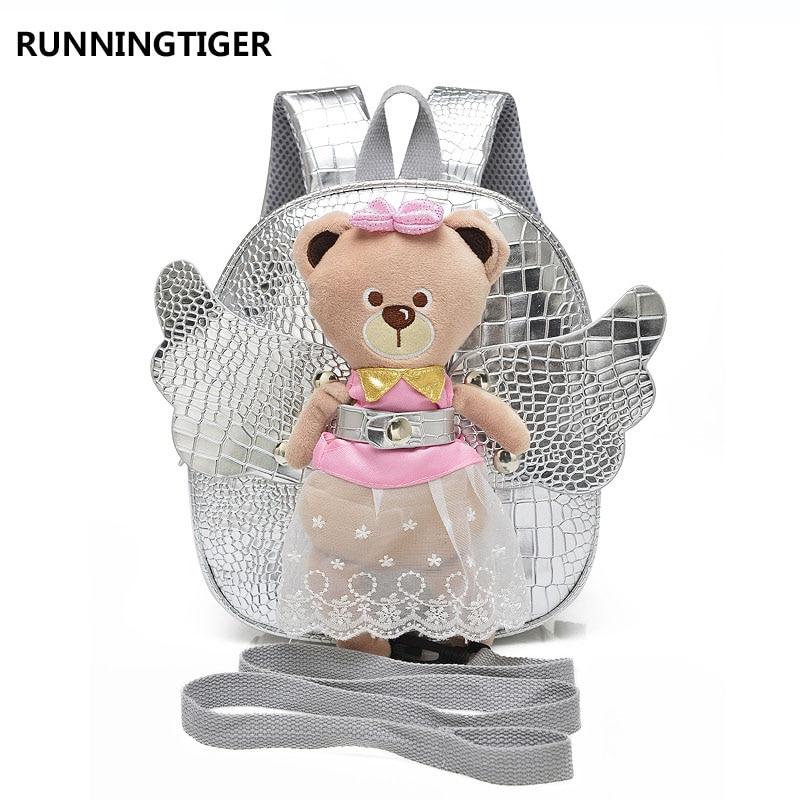 RUNNINGTIGER Cute Angel Bear Anti lost Children School Bags For Girls Baby Toddler Girl School Backpack