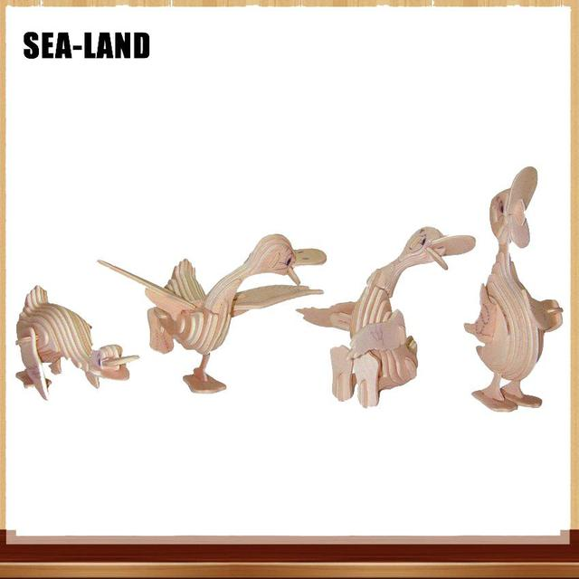 Nouveau 3D bricolage puzzle en bois Jouets Pour Enfants Bande Dessinée Canard Éducatifs puzzles animaux Pour Adultes jouet montessori Passe-Temps Cadeau Pour Enfants