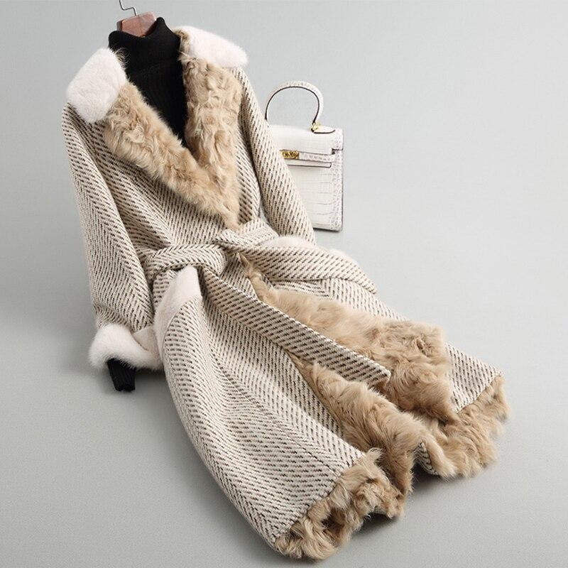 2018 nouvelle Arrivée De Luxe Vraie Fourrure des Femmes Manteau De Laine manteau avec fourrure de vison Naturel Fourrure D'agneau Doublure Top Coat rf0141