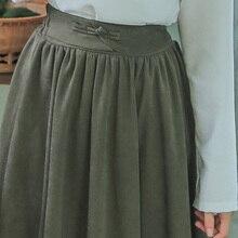 33844e294e Mori Niña de primavera y otoño de las mujeres falda de cintura alta Vintage  verde del ejército rojo vino en Saias elegante clási.