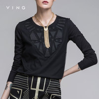 Ving 2015 Women Geometric Patterns T Shirt Female Loose O Neck Long Sleeve Basic Shirt Top