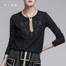 Ving 2017 Women Geometric Patterns T-shirt Female Loose O-neck Long-sleeve Basic Shirt Top