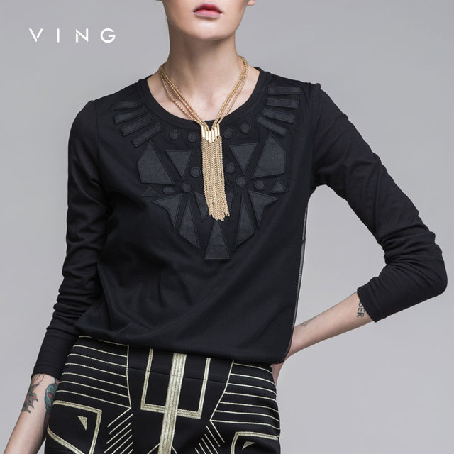 Ving 2017 Women Geometric Patterns T-shirt Female Loose O-neck Long-sleeve Basic Shirt Top