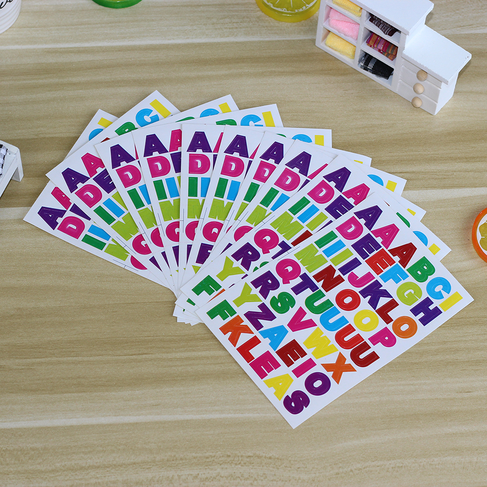10sheets/pack Multicolor A~Z Letters Stickers Alphabets Sticker Name Stickers For Kids DIY Decoration Scrapbooking Diary Albums