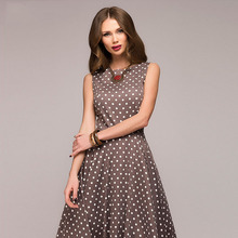 цена New Female Dress Women's Princess Dress Retro Polka Dot Sleeveless Party Dress 2019 Summer Elegant Dress Female онлайн в 2017 году
