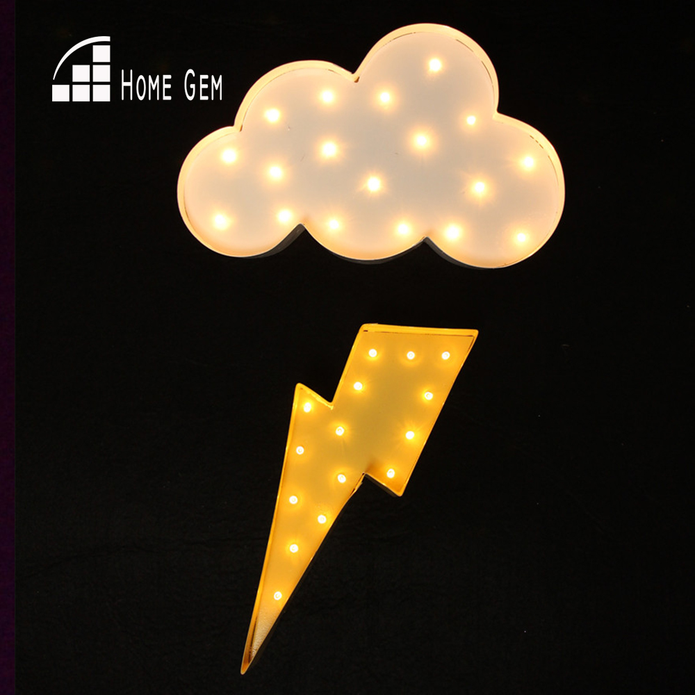 Bílý kov Cloud lightning ray LED Marquee Sign LIGHT UP Vintage noční nástěnné lampy Indoor Deration