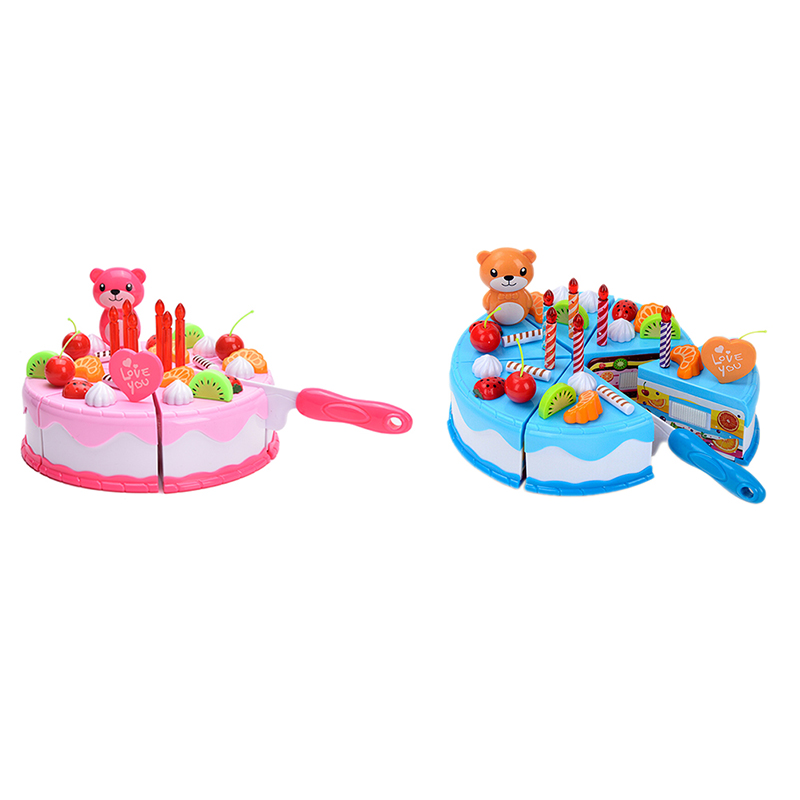 DIY Birthday Cake Model Kitchen Toy Children Kids Early Educational Pretend Play Classic Toy 37Pcs/Set
