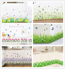 % 3D green grass Butterfly flowers baseboard PVC Wall Stickers Skirting  living Room Bathroom Kitchen nursery balcony home decor