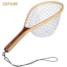 Goture caucho red de pesca red de aterrizaje neto marco de la mano para la pesca con mosca de bambú y de madera