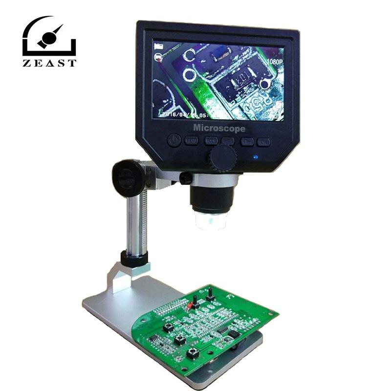 G600 Numérique 1-600X 3.6MP 4.3 pouces HD LCD Affichage Microscope Continue Loupe avec En Alliage D'aluminium Stand Mise À Niveau Version