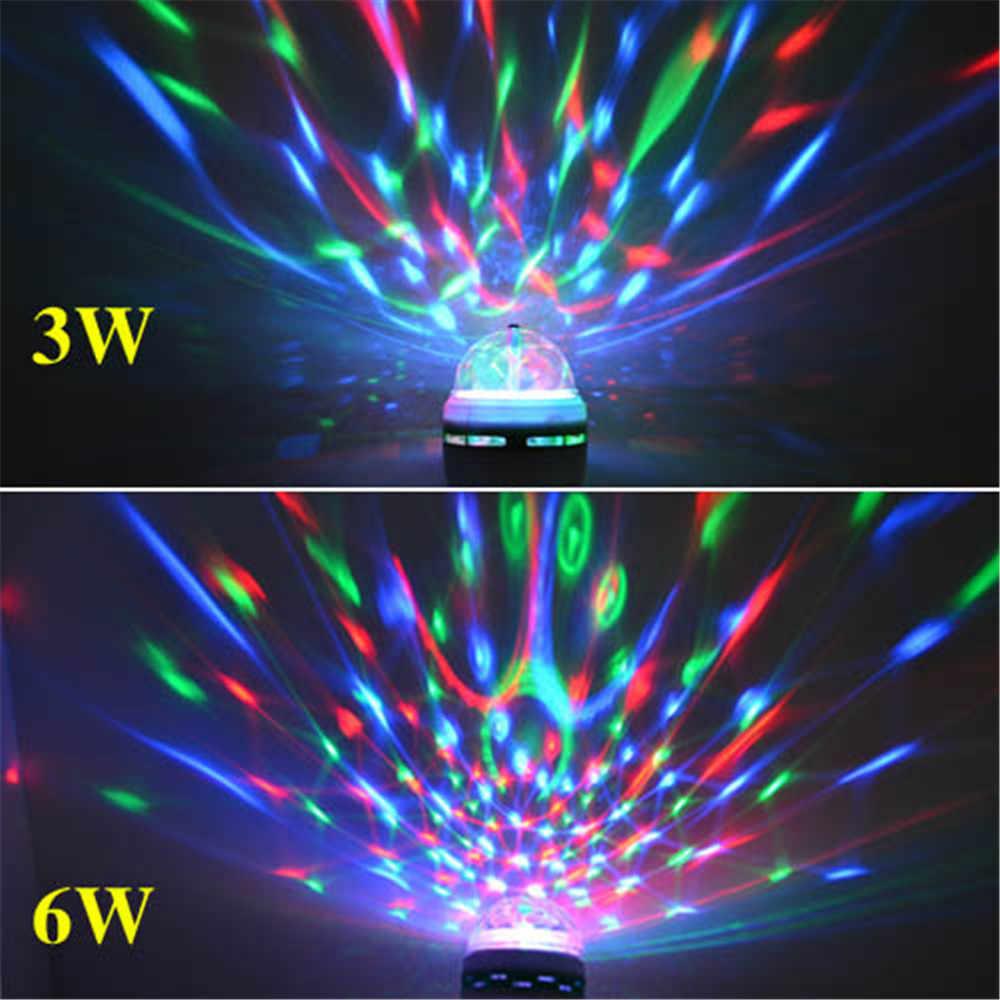 מלא צבע 3W 6W RGB Led מנורות E27 Lampada Led הנורה AC 85-265V 110V 220V אוטומטי מסתובב שלב אורות מקרן עבור DJ המפלגה מופע